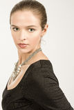 Νέα γυναίκα Brunette με το σχεδιάγραμμα ματιών της Hazel Στοκ Εικόνες