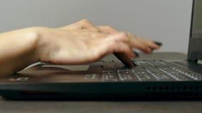 Νέα δακτυλογράφηση γυναικών γρήγορα στο πληκτρολόγιο lap-top απόθεμα βίντεο
