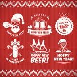 Νέα διακριτικά μπύρας τεχνών έτους και stickes απεικόνιση αποθεμάτων
