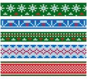 Νέα διανυσματικά πλέκοντας σύνορα ύφους έτους και γιορτής Χριστουγέννων επίπεδα Στοκ Εικόνες