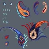 Νέα διανυσματικά στοιχεία των εγκαταστάσεων του Paisley και των φτερών, σύνολο Ελεύθερη απεικόνιση δικαιώματος