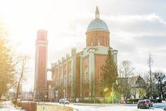 Νέα εβαγγελική εκκλησία στο backlight, Kezmarok, ακτίνες ήλιων Στοκ Εικόνες