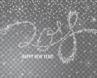 2018 νέα εγγραφή έτους από snowflakes και σπινθηρίσματα στο διαφανές υπόβαθρο Στοκ φωτογραφία με δικαίωμα ελεύθερης χρήσης