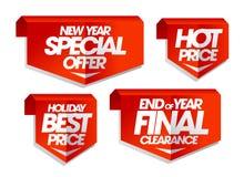 Νέα ειδική προσφορά έτους, καυτή τιμή, καλύτερη τιμή διακοπών, τέλος των τελικών ετικεττών πώλησης εκκαθάρισης έτους Στοκ Εικόνες