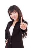 Νέα ενήλικη επιχειρησιακή γυναίκα που παρουσιάζει ένα δάχτυλο, αριθμός 1 Στοκ Εικόνες