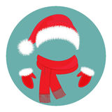 Νέα εξαρτήματα έτους ` s Καπέλο Άγιος Βασίλης, μαντίλι και γάντια απεικόνιση αποθεμάτων