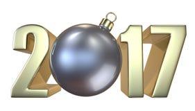 Νέα επιγραφή 2017 έτους και Χριστουγέννων με την ασημένια σφαίρα παιχνιδιών Χριστούγεννο-δέντρων Στοκ φωτογραφία με δικαίωμα ελεύθερης χρήσης