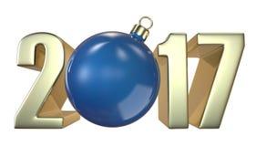 Νέα επιγραφή 2017 έτους και Χριστουγέννων με την μπλε σφαίρα παιχνιδιών Χριστουγέννων Χριστούγεννο-δέντρων Στοκ Εικόνα