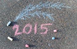 Νέα επιγραφή έτους στο πεζοδρόμιο από τις κιμωλίες Στοκ εικόνες με δικαίωμα ελεύθερης χρήσης