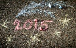 Νέα επιγραφή έτους στο πεζοδρόμιο από τις κιμωλίες 1 Στοκ φωτογραφία με δικαίωμα ελεύθερης χρήσης
