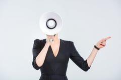Νέα επιχειρηματίας με megaphone Στοκ εικόνες με δικαίωμα ελεύθερης χρήσης