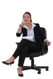 Νέα επιχειρηματίας που δείχνει σε σας Στοκ Εικόνες