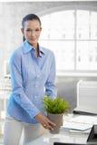 Νέα επιχειρηματίας που κρατά το σε δοχείο φυτό Στοκ εικόνες με δικαίωμα ελεύθερης χρήσης