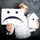 Νέα επιχειρησιακή κυρία, λυπημένο χαμόγελο Στοκ Εικόνες