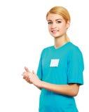 Νέα επιδοκιμασία γυναικών που απομονώνεται στο λευκό Στοκ φωτογραφία με δικαίωμα ελεύθερης χρήσης