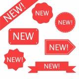 Νέα ετικέτα, εικονίδιο Σύνολο αυτοκόλλητης ετικέττας Διακριτικό θέσης νέων προϊόντων διανυσματική απεικόνιση
