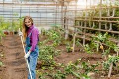 Νέα ευτυχής γυναίκα που βοτανίζει στον κήπο στοκ εικόνα