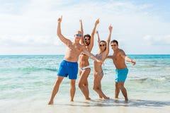 Νέα ευτυχής διασκέδαση havin φίλων στην παραλία στοκ φωτογραφία
