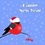 Νέα ευχετήρια κάρτα έτους με τα bullfinches, διανυσματική απεικόνιση ελεύθερη απεικόνιση δικαιώματος