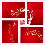 Νέα ευχετήρια κάρτα έτους με το άνθος δαμάσκηνων Στοκ Φωτογραφία