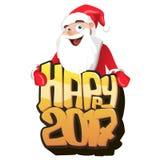 Νέα ευχετήρια κάρτα έτους του 2017 με Santa, διανυσματική απεικόνιση Στοκ εικόνες με δικαίωμα ελεύθερης χρήσης