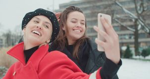 Νέα εύθυμα κορίτσια που έχουν τη διασκέδαση και που κάνουν selfie, υπαίθρια απόθεμα βίντεο