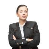 Νέα εύθυμη επιχειρηματίας στο λευκό Στοκ Φωτογραφίες