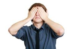 Μάτια κάλυψης με τα χέρια του στοκ φωτογραφίες με δικαίωμα ελεύθερης χρήσης
