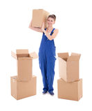 Νέα ελκυστική γυναίκα μπλε σε workwear με τα κουτιά από χαρτόνι ISO Στοκ Εικόνες