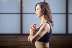 Νέα ελκυστική γυναίκα που κάνει τη χειρονομία Namaste, δημόσιες σχέσεις βραδιού στούντιο Στοκ Φωτογραφίες