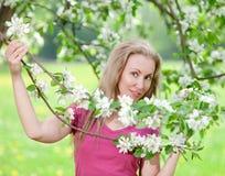 Η γυναίκα σε έναν κήπο Apple-δέντρων την άνοιξη Στοκ Φωτογραφία