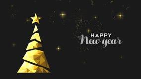 Νέα ζωτικότητα καρτών έτους του χρυσού χαμηλού πολυ δέντρου πεύκων απεικόνιση αποθεμάτων
