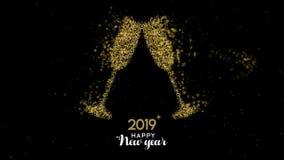 Νέα ζωτικότητα καρτών φρυγανιάς σαμπάνιας έτους 2019 χρυσή διανυσματική απεικόνιση
