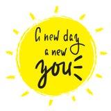 Νέα ημέρα μια νέα εσείς - απλός εμπνεύστε και κινητήριο απόσπασμα Συρμένη χέρι όμορφη εγγραφή απεικόνιση αποθεμάτων
