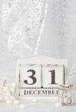 Νέα ημερομηνία έτους στο ημερολόγιο 31 Δεκεμβρίου Χριστούγεννα Στοκ φωτογραφία με δικαίωμα ελεύθερης χρήσης
