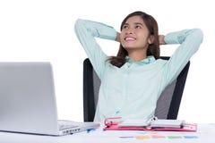 Νέα θηλυκή ασιατική επιχειρηματίας στο γραφείο Στοκ Φωτογραφία