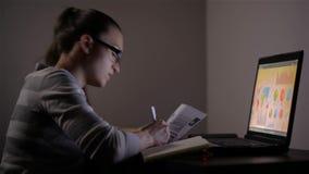 Νέα θηλυκή επιχειρησιακή γυναίκα που εργάζεται στο σπίτι Εργάζεται αργά στη νύχτα εξετάζοντας το όργανο ελέγχου απόθεμα βίντεο
