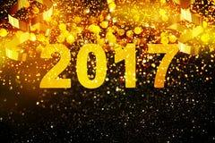 Νέα διακόσμηση έτους, κινηματογράφηση σε πρώτο πλάνο στα χρυσά υπόβαθρα Στοκ Φωτογραφίες