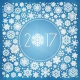 Νέα διανυσματική απεικόνιση έτους 2017 με άσπρα snowflakes Στοκ Εικόνες