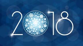 Νέα διανυσματική απεικόνιση έτους 2018 με άσπρα snowflakes Στοκ Εικόνες