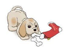 Νέα κάλτσα παραμονής έτους παρούσα για το κουτάβι σπανιέλ κόκερ Χνουδωτός χαριτωμένος χαρακτήρας κινούμενων σχεδίων Στοκ Φωτογραφία