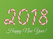 2018 νέα κάρτα έτους Επίδραση κειμένων καλάμων καραμελών Χριστουγέννων Δημιουργική ζωηρόχρωμη εγγραφή Ριγωτά ψηφία ζάχαρης Διάνυσ διανυσματική απεικόνιση