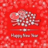 Νέα κάρτα έτους με τα μπλε πρόβατα Στοκ Φωτογραφία