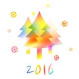 Νέα κάρτα έτους με τα νέα δέντρα και snowflakes έτους Στοκ Φωτογραφία