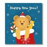 Νέα κάρτα έτους με την αρκούδα Στοκ φωτογραφία με δικαίωμα ελεύθερης χρήσης