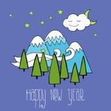 Νέα κάρτα έτους με τη διανυσματική εικόνα δέντρων και βουνών Στοκ εικόνες με δικαίωμα ελεύθερης χρήσης