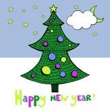 Νέα κάρτα έτους με τη διανυσματική εικόνα δέντρων Στοκ Εικόνες