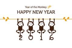Νέα κάρτα έτους με τον πίθηκο Στοκ Εικόνες