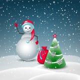 Νέα κάρτα έτους με τους χαριτωμένους χιονανθρώπους και το χριστουγεννιάτικο δέντρο Στοκ εικόνες με δικαίωμα ελεύθερης χρήσης