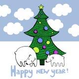 Νέα κάρτα έτους με το δέντρο και τη διανυσματική εικόνα πολικών αρκουδών Στοκ εικόνα με δικαίωμα ελεύθερης χρήσης
